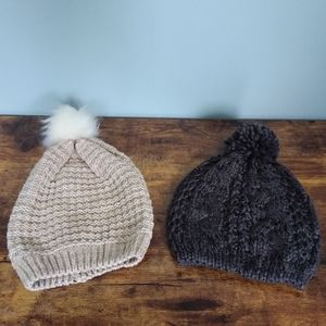 NWOT Pair of Knit Beanies with Pom Pom